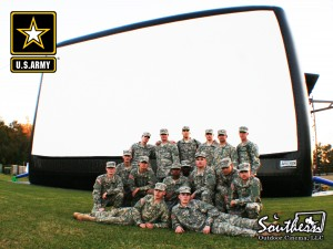 Outdoor movie at military base