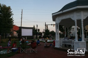 Outdoor Movie in a Downtown Setting