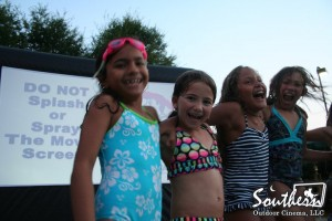 outdoor movie pool splash in