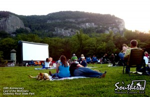 Outdoor Movie showing of Last of the Mohicans at Chimney Rock