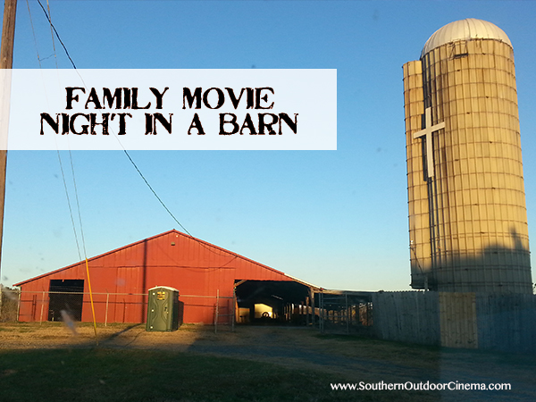 A rustic barn in Charlotte NC  provides the perfect venue for a community outdoor movie night.