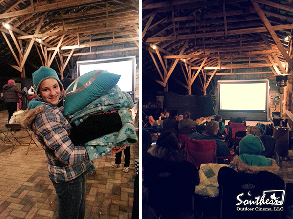 Create a special movie event by hosting movie night in a barn.