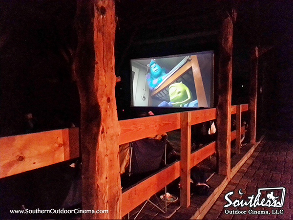 A barn provides for an unique venue for outdoor movies during the winter.