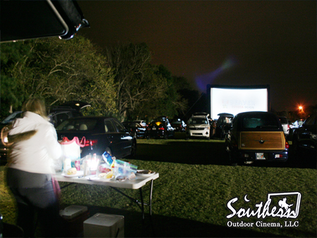 Drive-in theater on an inflatable movie screen in Florida