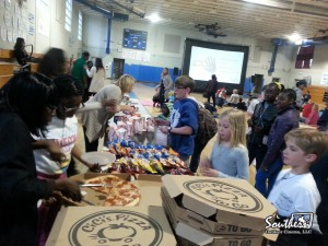 Concessions at indoor movie night at school