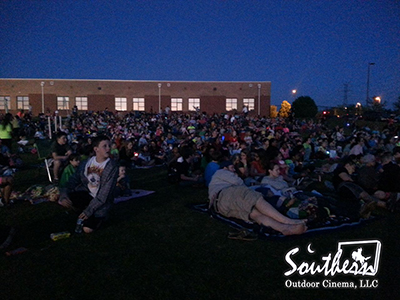 Outdoor Movie at school during carnival