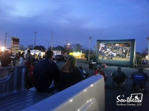 Drive-in inflatable movie screen