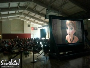 Indoor movie at summer camp
