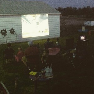 Inexpensive outdoor movie night